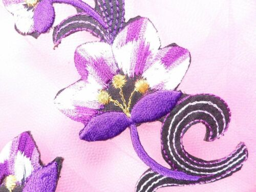 """Purple Embroidered Appliques Floral Mirror Pairs 3.75/"""" GB696X"""