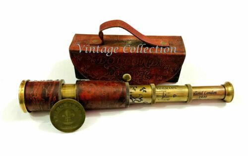 """16/"""" dollond London Antiguidade Marítimo Bronze Couro Telescópio Luneta Com Capa"""