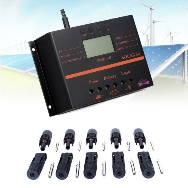 LCD 80A Solar Panel Battery Regulator Charge Controller + 5pair MC4 Connector MT