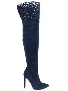 dc922c5fe081 Athena Navy Suede Pointy toe Laser cut Over the Knee Boots Women s ...