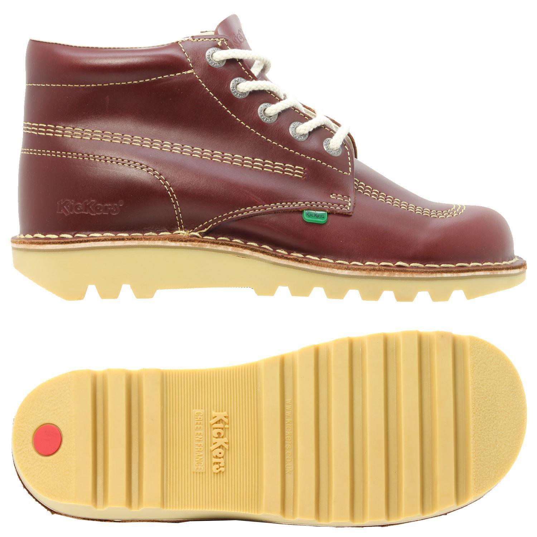 Kickers Kick Hi Oscuro Para Hombres Botas Zapatos Rojo Oscuro Hi Francia Caminar 34178d
