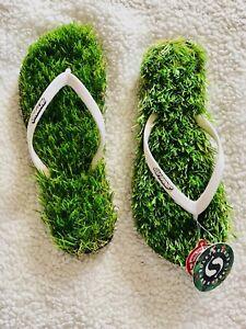 0a0bd8a1d203 Women Men Green Novelty Fake Lawn Grass Slippers Sandals Grass Flip ...