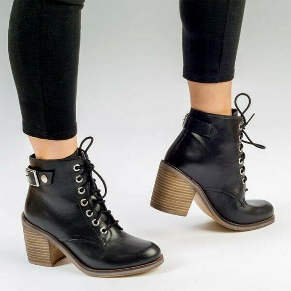 OLLA Black Womens Ladies Lace Up Leather Ankle Boot, UK Size 3 4 5 6 7 8