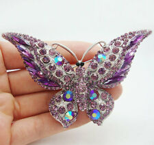 Vintage Butterfly Insect Purple Rhinestone  Crystal Silver-plated Brooch Pin