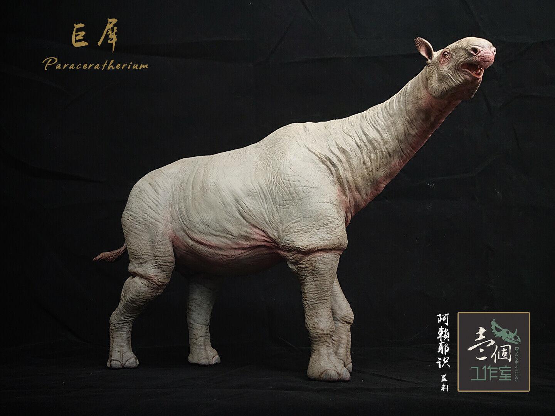 1 20 Paraceratherium Statue Indricotherium Rhino Animal Model Collector GK Gift