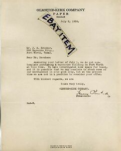 1930 letterhead HARRY OLMSTED - KIRK PAPER COMPANY Dallas Texas LETTER