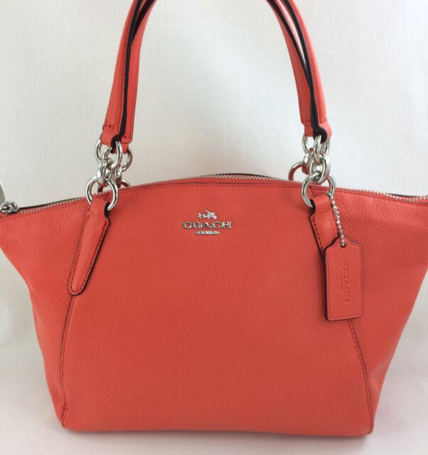 e0f90075d0 ... store new coach f36675 leather small kelsey satchel shoulder purse  handbag orange 69608 1de9e