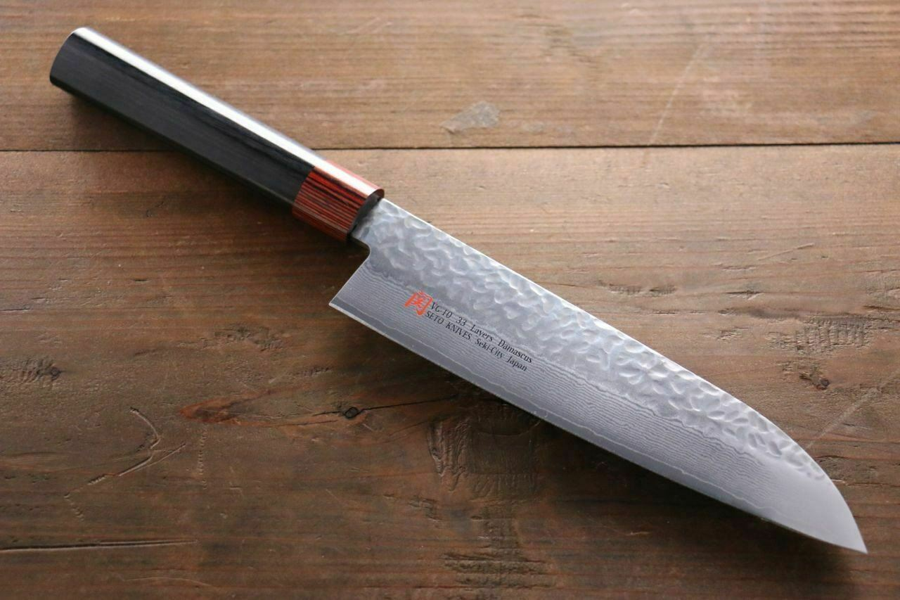 Iseya VG10 33 Layer Damascus Hammerot Santoku Japanese Chef Knife, 180mm