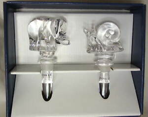 Set-of-2-TOWLE-Crystal-BottleStoppers-Elephant-and-Snail-Austria-NEW-NIB