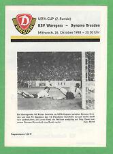 Orig.PRG   UEFA Cup   88/89    DYNAMO DRESDEN - KSV WAREGEM  !!  SELTEN