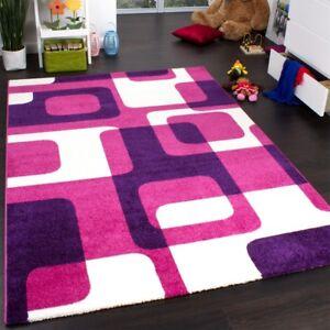 Tapis-De-Createur-De-Style-Retro-En-Rose-Violet-Blanc-Super-Qualite-a-Petit-Prix