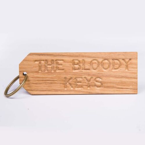 La sanglante clefs-En bois Porte-Clés Large-Fait Main Chêne Anglais-Drôle Humour Maman