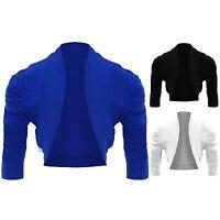 Children's Gathered Shoulder Open Front Plain Shrug Girls 3/4 Sleeve Bolero