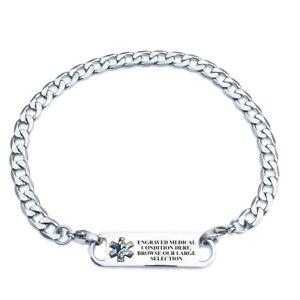 Image Is Loading Pre Engraved Curb Link Medical Alert Id Bracelets