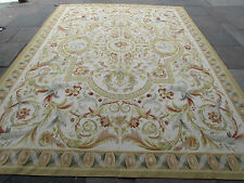 Old Hand Made French Design Original Wool 12x9 Cream Gold Aubusson 369X276cm