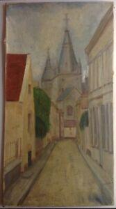 Tableau-ancien-proche-Elisee-MACLET-Paysage-a-l-039-eglise-Grande-Huile-sur-Toile
