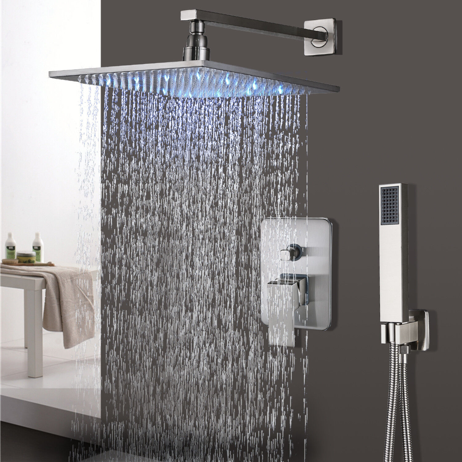 Shower Faucet System Led Square Rainfall With Hand Shower