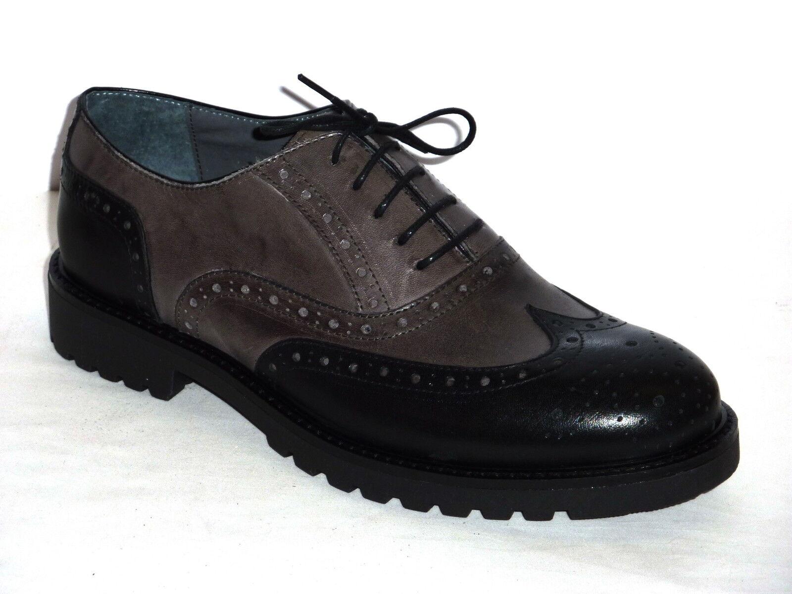 Herrenschuhe Casual Stil Englisch anschnallen schwarzes Leder grau n.40