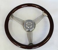 Galaxie Torino Maverick Wood Banjo Steering Wheel 15 Ford Center Cap
