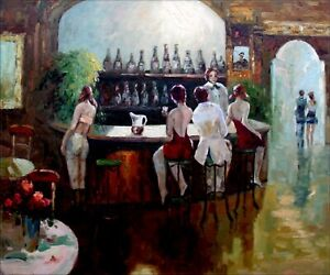 Bartender-and-Drinkers-Quality-Hand-Painted-Oil-Painting-20x24in