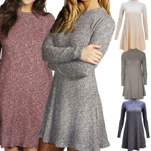 Ladies Knitted Rib Turtle Polo Neck Jumper Swing Dress Skater Flared Long Sleeve