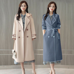 Women's Double-breasted Trench Coat Lapel Belted Wool Blend Coat Parka Overcoat