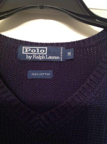 Ralph de tamaño hombre suéter chaleco cuello M en Lauren Euc v Polo con algodón fxSFwgqg