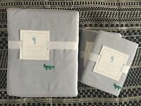 Pottery Barn Kids Oxford Embroidered Alligator Duvet Cover Sham Queen 3pc Gray