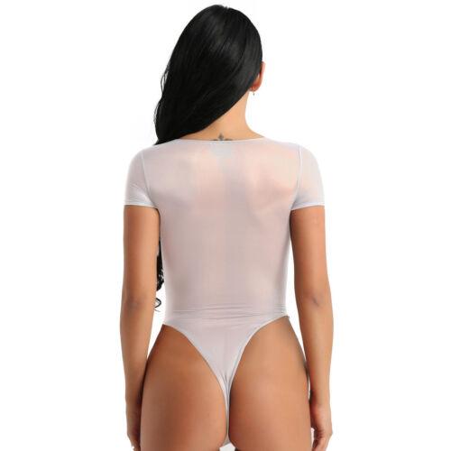 Women/'s Mesh Short Sleeve Bodysuit Leotard Top Blouse Romper Jumpsuit Lingerie
