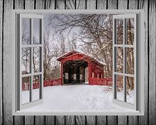 Red Gray Room Wall Art Photo Print Home Decor Covered Bridge Picture Bedroom