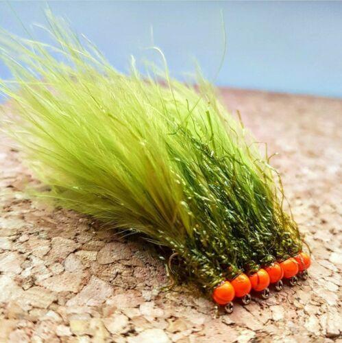Fly Fishing Flies Orange Hot Head UV Olive Straggle Lures #10 Set of 3
