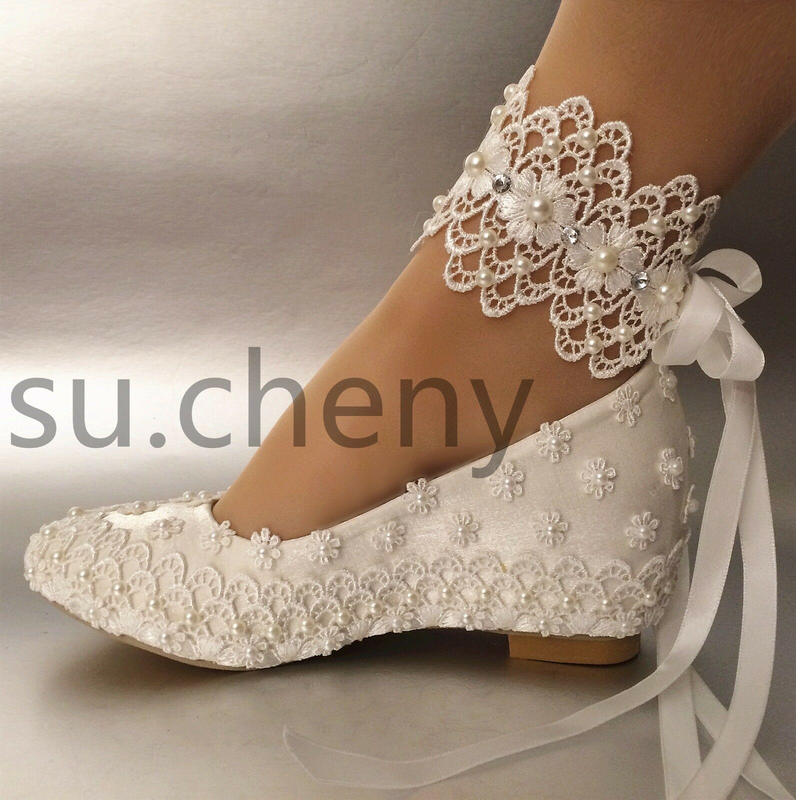 Su Cheny 2 Wedge White Silk Satin Lace Pearl Ribbon Wedding Shoes