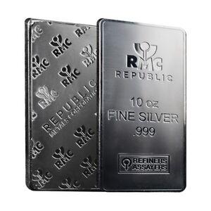 Lot Of 2 10 Oz Republic Metals Rmc Silver Bar 999