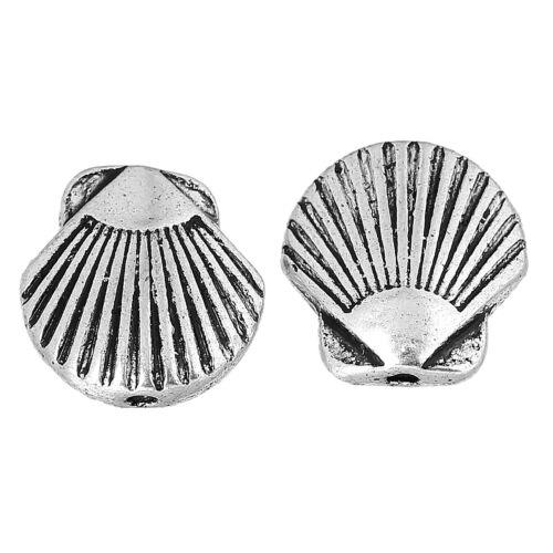 Metall Perle Spacer Zwischenperle Muschel 13x13mm silber 8x #01.00579