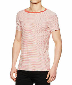 LEE-Basic-Casual-Summer-Stripe-T-Shirt-Faded-Red-Slim-Fit-Cotton-Tee