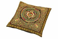 Kissenhülle Bezug Handbestickt Ethno Stil Kunsthandwerk Mandala Safran gold Deko