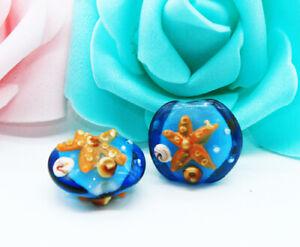 10pcs-handmade-Lampwork-glass-Oblate-beads-12mm-20mm-blue-Starfish