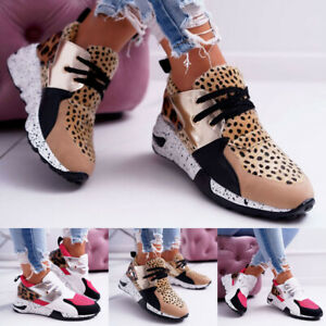 Womens-Lace-Up-Sneakers-Casual-Sport-Gym-Leopard-Printed-Running-Shoes-Joggers