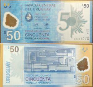 Uruguay-50-Pesos-2017-2018-UNC-Comm-50th-Ann-POLYMER-P-100a-Prefix-A