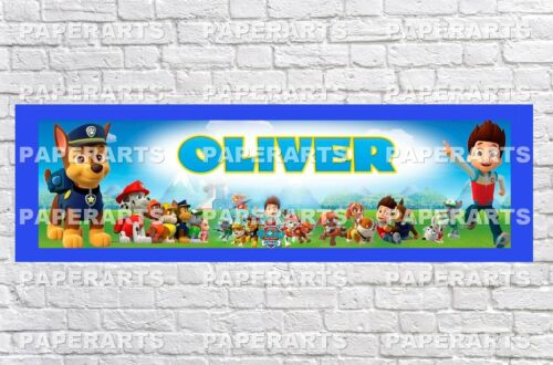 Personalized Paw Patrol Name Poster with Paper Border Mat Art Wall Deco Banner