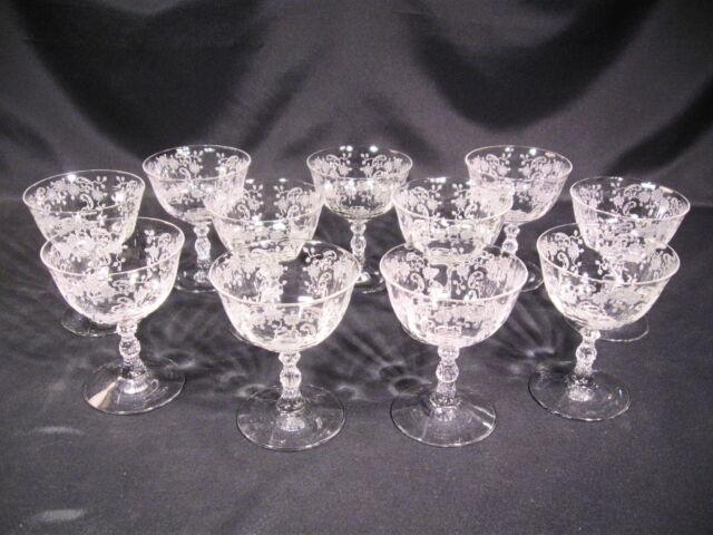 Fostoria Glass Company Meadow Rose Low Sherbet Stem 6016 Etch 328 Group of 11