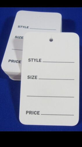 1000 Lot Large White Unstrung Garment Merchandise Price Tags 1-3//4 X 2-7//8