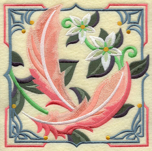 FLAMINGO FEATHER ART DECO EMBROIDERED SET 2 BATHROOM HAND TOWEL by laura