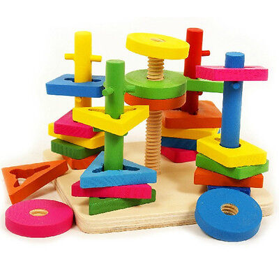 Montessori 5 pillars Topping-on Wood Train Game matching color shape block Toy