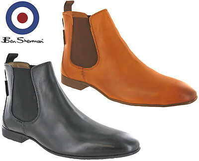Ben Sherman Chelsea Boots Leather Mens Archibald Smooth Ankle Pull On Uk 7-11