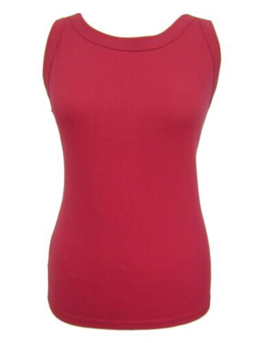 Girls Ladies 12-24 New Red Stretch Cotton Thick Strap Vest Cami Top Womens
