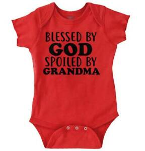 Blessed By God Spoiled By Grandma Grandmother Romper Bodysuit Ebay