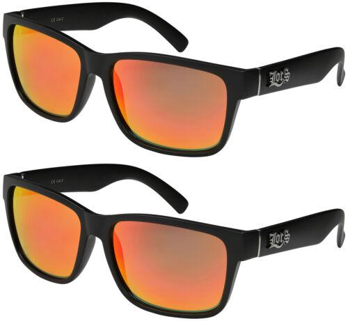 2er Pack Locs 91070 Choppers Harley Brille Sonnenbrille Herren schwarz weiß matt