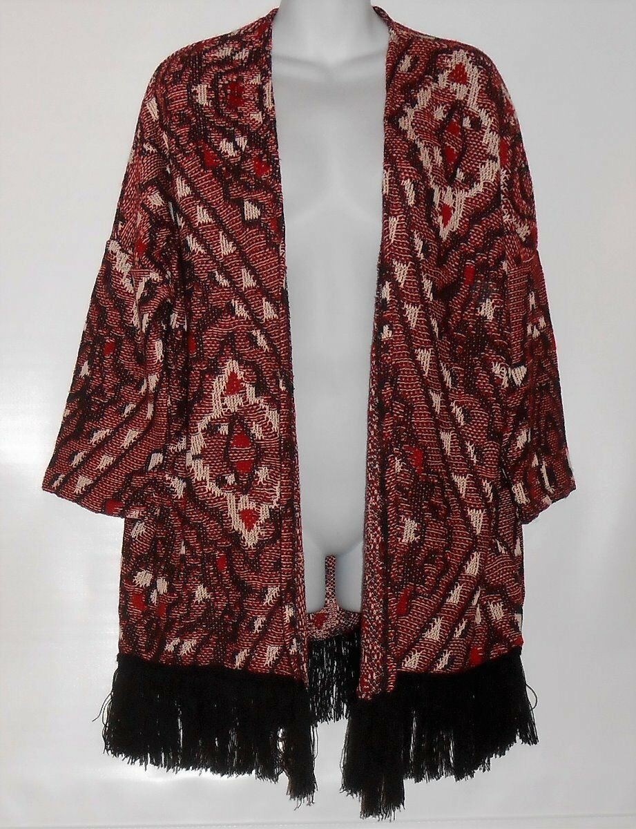 Divided H&M Ladies Long Open Front Textured Fringe Cardigan Multi Medium (M) NWT