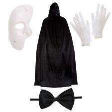 Il fantasma dell'Opera Halloween Fancy Dress Set (Maschera, mantello, Guanti, Cravatta a farfalla)